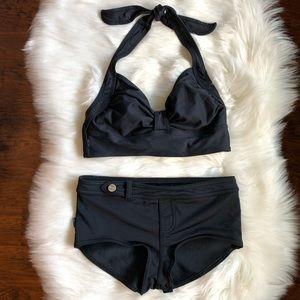 Anne Cole Boy Brief Bikini Black Swimsuit Small